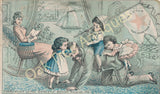 Victorian Trade Card - Domestic Sewing Machines - Children playing with dad