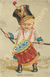 Victorian Trade Card - Clark's O.N.T. Spool Cotton - Hard to Beat - Boy with Drum