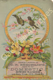 Victorian Trade Card - Domestic Sewing Machines - Birds in flowering tree - C.R. Beechling, Erie, Pa
