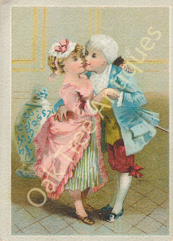 Victorian Trade Card - Lion Coffee - Woolson Spice Co. - 18th Century Couple