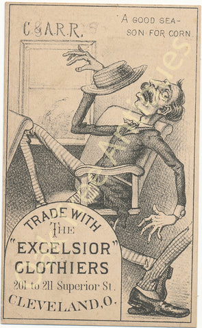 Victorian Trade Card - Excelsior Clothiers Cleveland, Ohio - Good Season for Corn