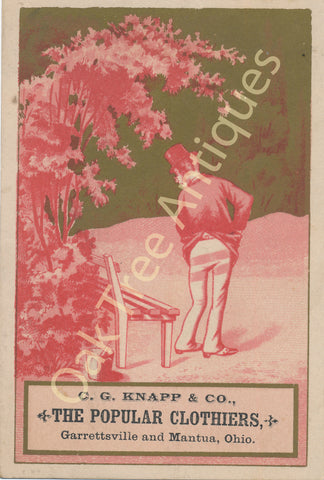 Victorian Trade Card - C. G. Knapp & Co. Popular Clothiers, Mantua and Garrettsville, Ohio - Man on Painted Bench