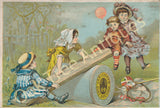 Victorian Trade Card - J. & P. Coats Thread - Children on Seesaw