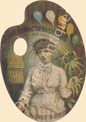 Victorian Trade Card - Die-Cut Artist's Palette - Lillie Langtry - David S. Brown Soap Makers & Perfumers