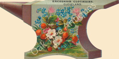 Victorian Trade Card - Anvil Die Cut with Flowers - Excelsior Clothiers, Cleveland, Ohio