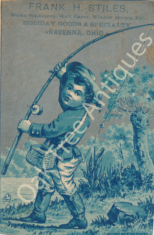 Victorian Trade Card - Boy fishing - Frank H. Stiles Books, Stationery etc. - Ravenna, Ohio - Gilt