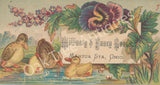 Victorian Trade Card - Ducks and Pansies - Mrs. M. A. Smith Millinery & Fancy Goods, Mantua Station, Ohio