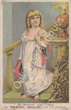 Victorian Trade Card - Cushman's Menthol Inhaler - Girl on stairs - Three Rivers, Michigan - Copland Druggist, Meyersdale, Pa.