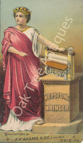 Victorian Trade Card - Keystone Wringer - F.F. Adams & Co. Erie, Pa - J.F. McDonald