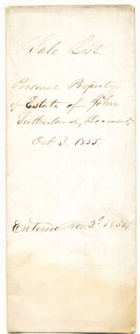 1855 Vendue List - John Sutherland, Beaver Co., PA