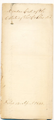 1842 Vendue List (conclusion only) - Thomas Eckles, Beaver Co., PA