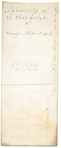 1861 Appraisal for real estate of George Frank, Phillipsburg (now Monaca), Beaver Co., PA