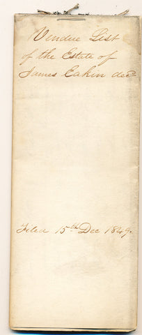 1848 Vendue List - James Eakin, Beaver Co., PA