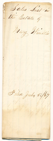 1867 Vendue List - Mary Winkle, Beaver Co., PA
