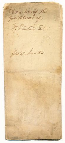 1814 Vendue List - William Sumerland [Summerland], Beaver Co., PA
