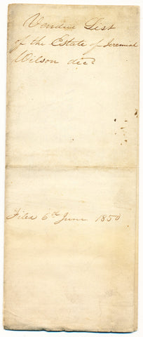 1845 Vendue List - Jeremiah Wilson, Beaver Co., PA
