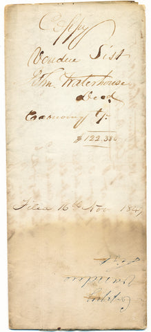 1849 Vendue List - John Waterhouse, Economy, Beaver Co., PA