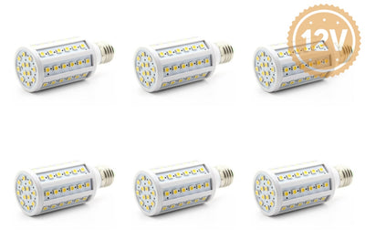 12 Volt 24 Dc Led Light Bulb Medium Base E26 E27 Solar Battery Applications 6 Pack / Cool White