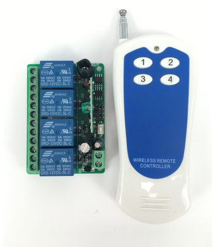 DC 24 Volt Latching 4 Channel Remote Control Wireless ON OFF Switch 24V