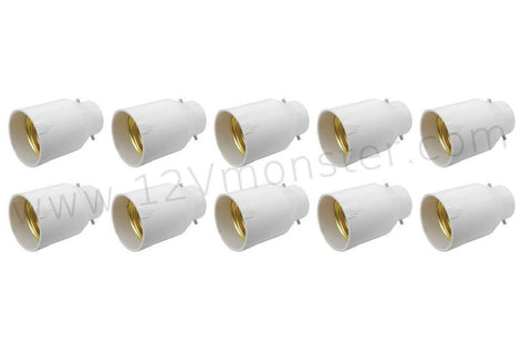 10 Pack Light Bulb Fitting Socket Changer Adapter Edison To Bayonet E27 To B22 E26 To BC
