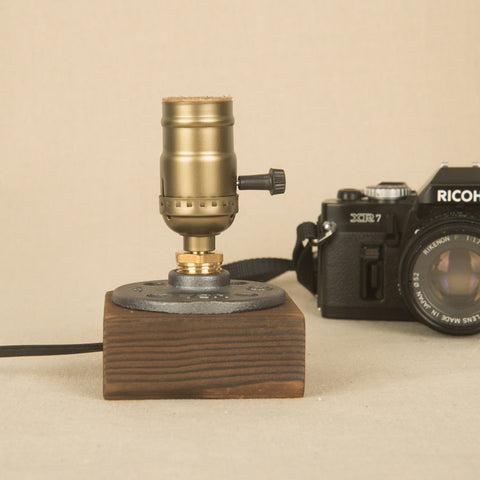 Wood Block Vintage Retro Minimalist Display Desk Lamp UL Edison Fit