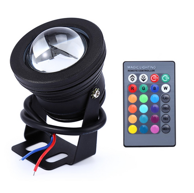 "Color Changing RGB IP68 LED Outdoor Spot Light I 12 Volt 10 Watt 12"" Wire"