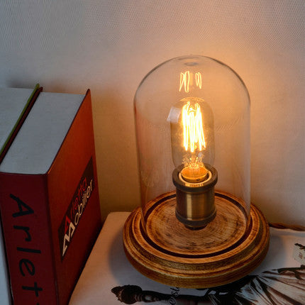 Vintage Style Hurricane Mantle Lamp Edison Bulb Holder Distressed Wood Base