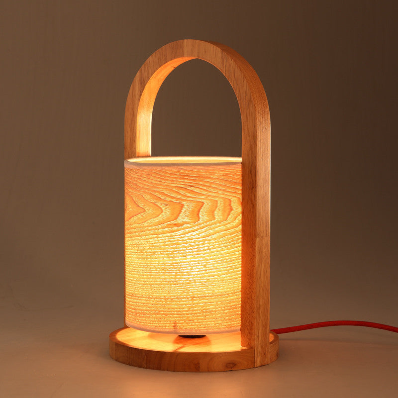 Wooden Arch Soft Glow Accent Reading Lamp With Wood Grain Lampshade