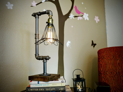 Steampunk Victorian Pipe Cage Minimalist Desk Table Desk Lamp - Video Inside !
