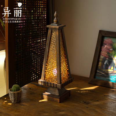 Thailand Style Pagoda Desk Lamp | Relaxing Buddhist Theme Table Light Thai Stick