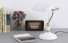 White Gold Vintage Bankers Desk Lamp | Bank Table Light