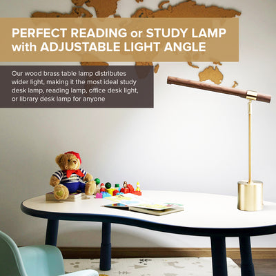 LED Wood Brass Elegant Desk Table Light - Bedroom Study Adjustable Light