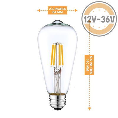 Dc 12V 24V 36V 6W Led St64 Classic Retro Wire Filament Light Bulb Industrial Loft Light Bulb