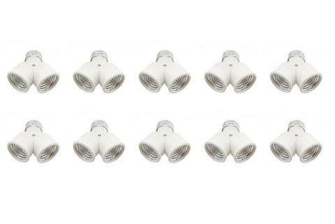 10 Pack Light Bulb Socket Fitting Changer Fixture Adapter ES E26 Edison 1 To 2 Split