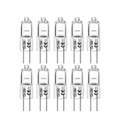 G4 10W AC/DC 12V Clear Lense Halogen Light Bulb JC Spot Light Bi Pin 10 Pack