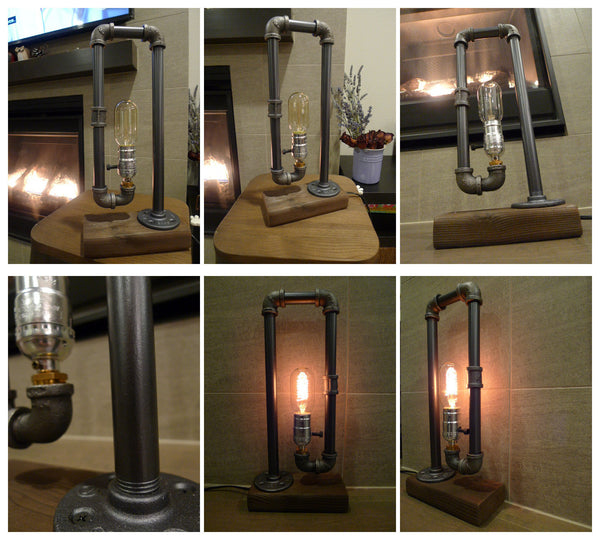 steampunk interior design nostalgic wood base iron pipe desk lamp 12vmonster lighting and more. Black Bedroom Furniture Sets. Home Design Ideas