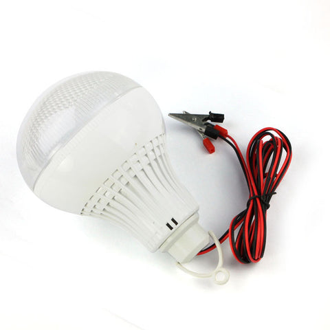 DC 12V To 85V 9W Wide Voltage LED Light Bulb DC Power Battery Clip And Wire