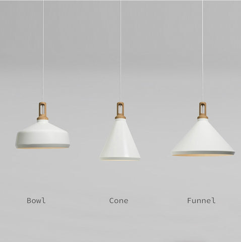 Scandinavian Minimalists Designer Ceiling Hanging Pendant Lamp Wood And White