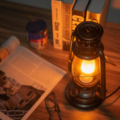 Rustic Finish Classic Oil Lantern Light Bulb Lamp l Electric