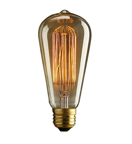 ST64 120V 40W Retro Edison Filament Antique Light Bulb Tear Drop Cage