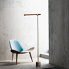 Standing Floor Modern Banker Lamp I Polished Brass Wood Gold Minimalist Accent