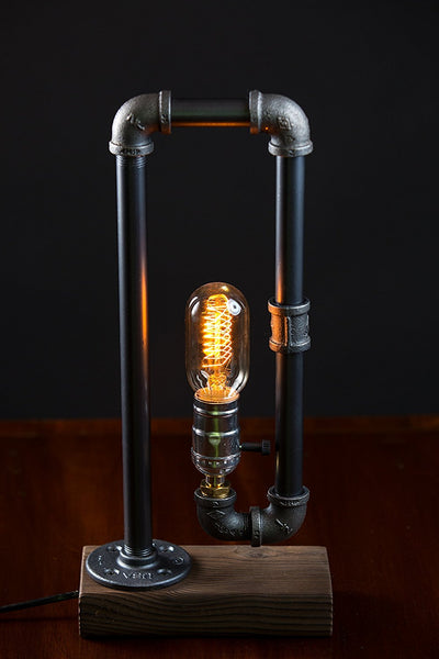 Steampunk Interior Design Nostalgic Wood Base Iron Pipe Desk Lamp