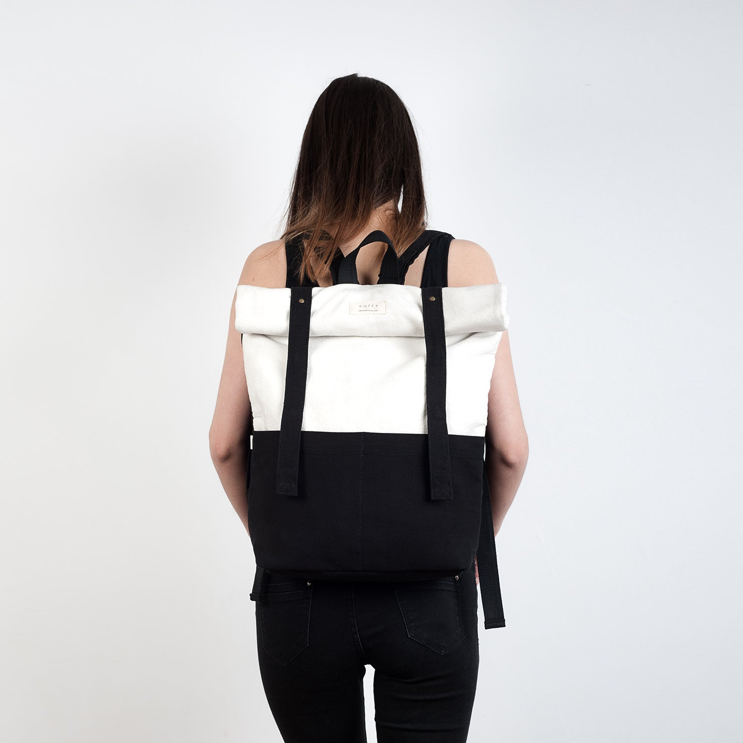 Black & White Rolltop Backpack