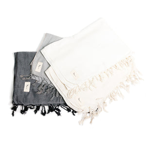Bamboo Cotton Shawl - Natural White