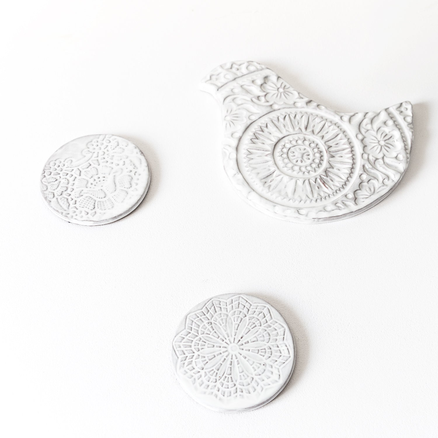 Ceramic Cup Coasters - Flowers Set