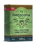 Photo of full spectrum cannabinoid hemp tincture in green and gold box with Farmacopia Farms crest, 30 milliliters, 1000 milligram