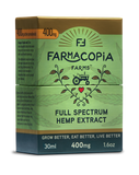 Photo of full spectrum cannabinoid hemp tincture in green and gold box with Farmacopia Farms crest, 30 milliliters, 400 milligram