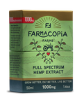 Photo of full spectrum cannabinoid hemp tincture in green and gold box with Farmacopia Farms crest, 50 milliliters, 1000 milligram