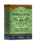 Photo of full spectrum cannabinoid hemp tincture in green and gold box with Farmacopia Farms crest, 50 milliliters, 400 milligram