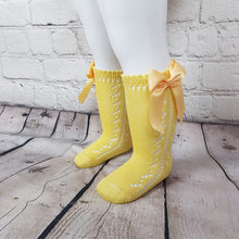 Load image into Gallery viewer, Yellow Bow Knee High
